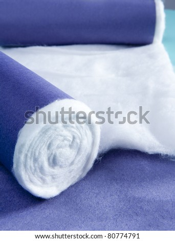 blue rolled medical pharmaceutical cotton macro detail
