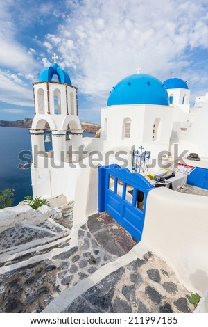 Blue roof church of Oia, Santorini Grecce - stock photo