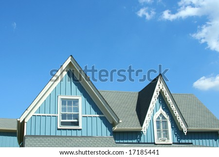 Blue rooftop with decorative cornice