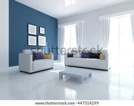 Blue room interior with sofa. Living room interior. Scandinavian interior. 3d illustration