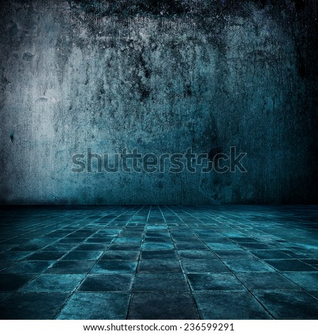 Blue room. Stone room or chamber in bluish tone. - stock photo