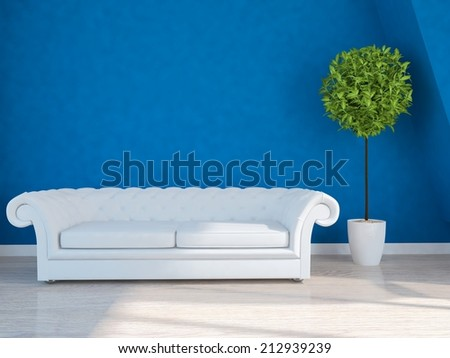 blue room with a white sofa - stock photo