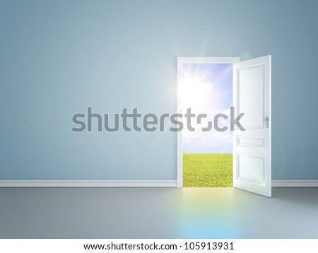 blue room with an open door in field - stock photo