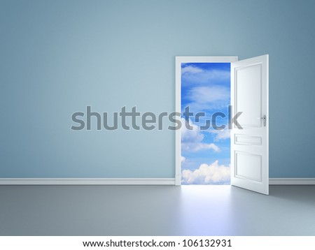 blue room with an open door in sky - stock photo