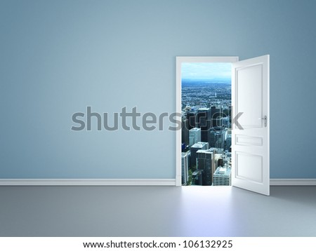 blue room with an open door to city - stock photo