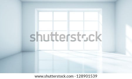 blue room with big window - stock photo