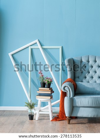 blue room with seats - stock photo
