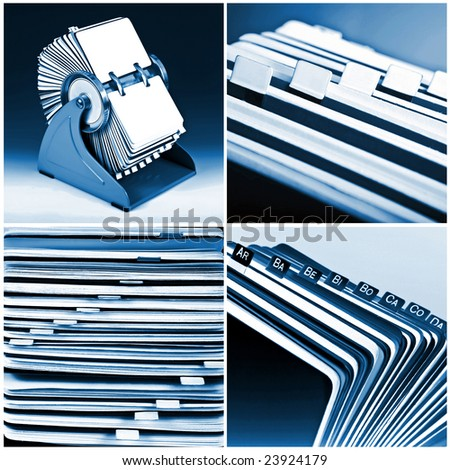 Blue rotary card business collection background 02 - stock photo