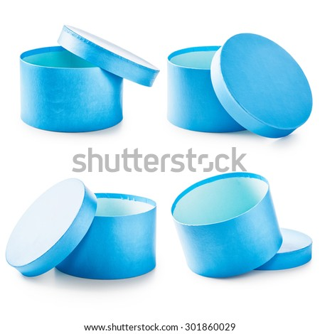 Blue round gift boxes collection. Holiday present. Objects isolated on white background