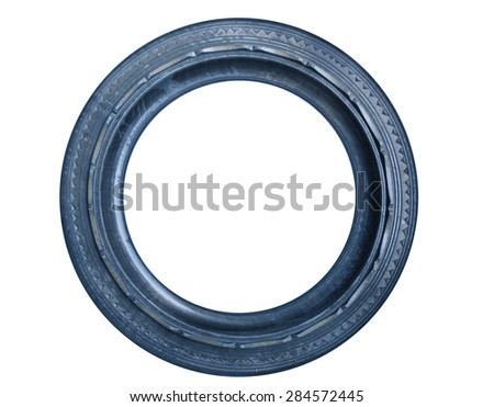 Blue round picture frame - stock photo