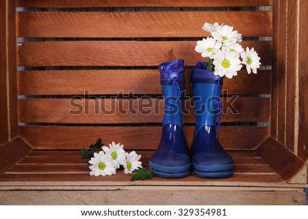 blue rubber boots with  spring flowers  for kids  in a wooden box  - stock photo