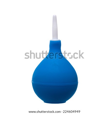 blue rubber bulb isolated on white background - stock photo