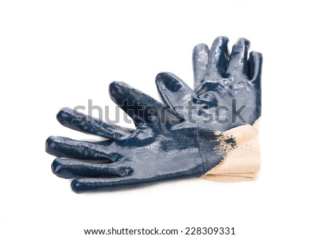 Blue rubber protective gloves. Isolated on a white background.