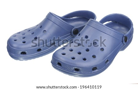 Blue rubber slippers, isolated on white background  - stock photo