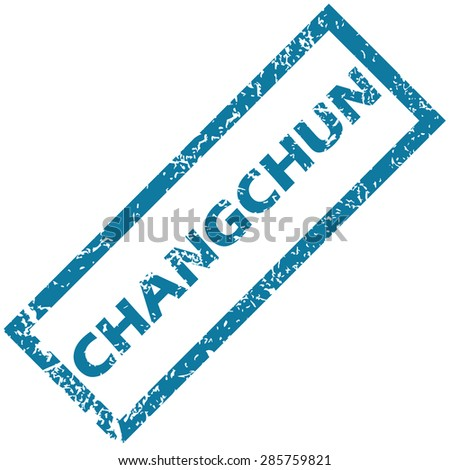 Blue rubber stamp with city name Changchun, isolated on white