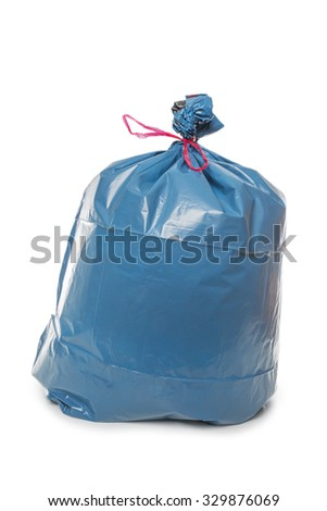 Blue Rubbish Bag isolated on white background - stock photo