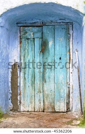 Blue Rustic Door - stock photo