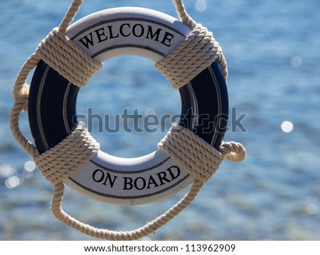 blue safe belt hanging on the rope - stock photo