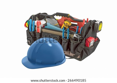 Blue Safety Helmet in Front of Tool Bag on White Background - stock photo
