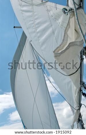 Blue Sailing - Sails and ropes (Detail) - stock photo