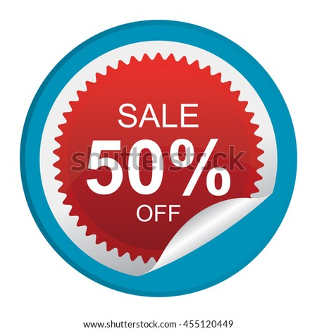 Blue Sale 50% Off Promotion Label on Circle Peeling Sticker Isolated on White Background  - stock photo
