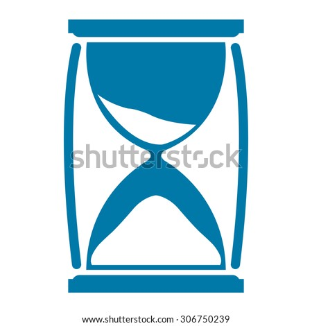 Blue Sandglass Infographics Flat Icon, Sign Isolated on White Background - stock photo