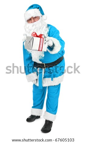 Blue Santa claus gives a present on white background - stock photo