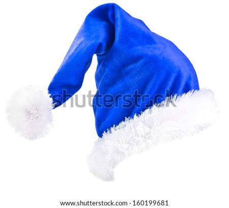 Blue  Santa Claus hat - stock photo