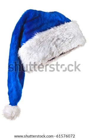 Blue Santa Claus Hat. Isolated on white. - stock photo