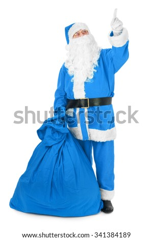 Blue Santa pointing his finger at an invisible object