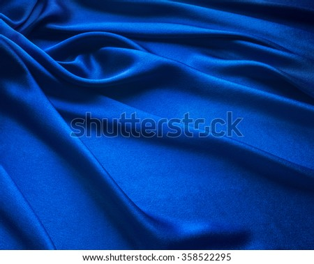 Blue Satin Cloth, material - stock photo