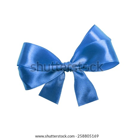 Blue satin gift bow. Ribbon. Isolated on white - stock photo