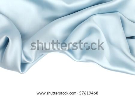 blue satin isolated on white - stock photo