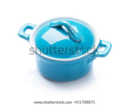 Blue saucepan. Isolated on white background - stock photo