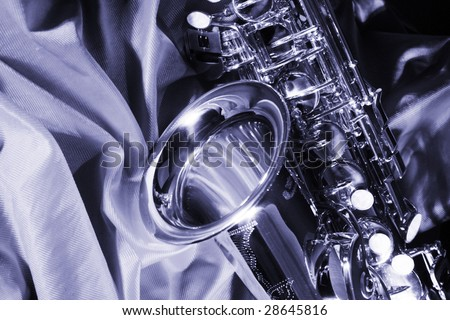 blue sax - stock photo