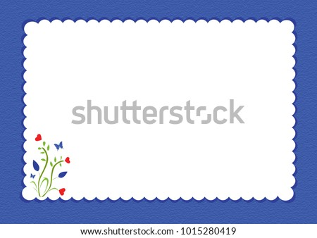 Blue scalloped border with floral design and white background for writing space
