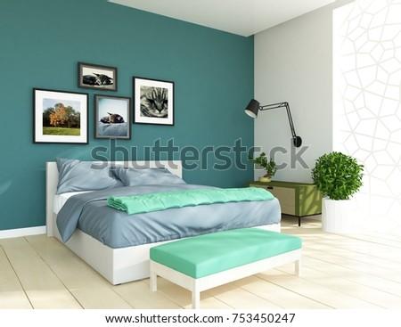 Blue Scandinavian Bedroom Interior Nordic 3d Illustration