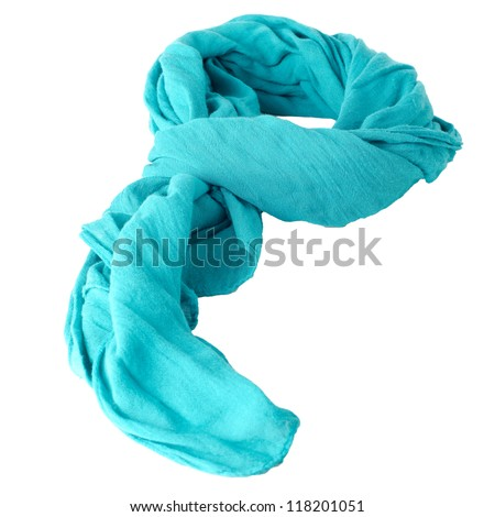 Blue scarf isolated on white background. - stock photo