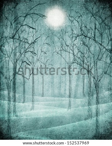 blue scary forest illustration with moon - stock photo