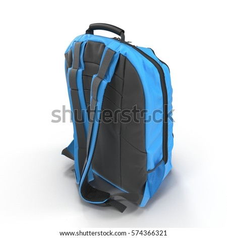 Blue school backpack isolated on white. Rear view. Sport travel rucksack closeup. 3D illustration