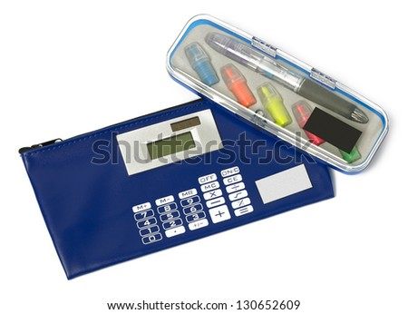 Blue school case with calculator isolated on white - stock photo