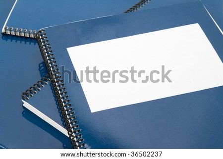 Blue school textbook, notebook or manual - stock photo