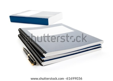 Blue school textbook, notebook or manual with white background - stock photo