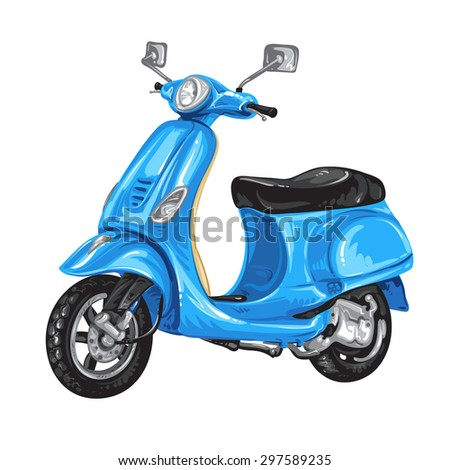 Blue scooter on white background - stock photo