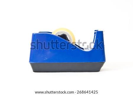 Blue scotch tape holder isolated over white background - stock photo
