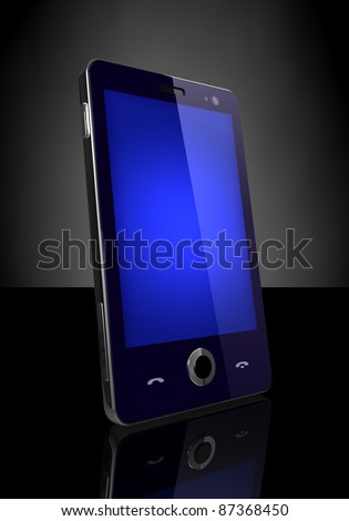 Blue screen mobile phone - stock photo