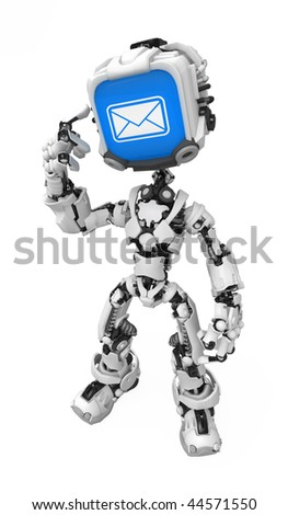 Blue Screen Robot, Got Mail - stock photo
