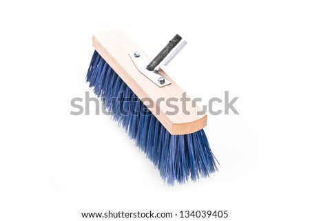 Blue scrubbing broom on white background - stock photo