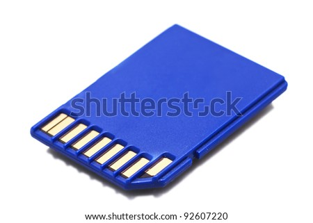 Blue SD memory card isolated on white - stock photo