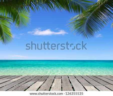 Blue sea and blue sky - stock photo